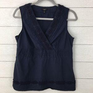 Talbots Cross Front Embellished Sleeveless Top
